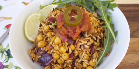 Curried Chickpea and Wild Rice Stir-fry